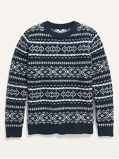 Gender-Neutral Fair Isle Crew-Neck Sweater for Kids