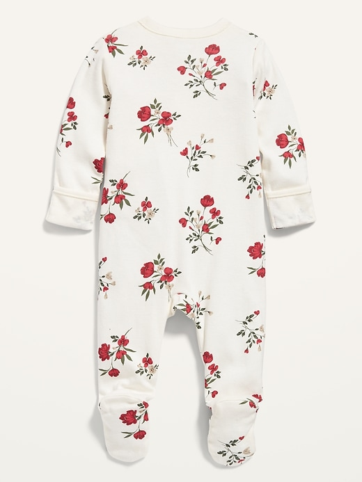 Unisex Holiday-Print Footed One-Piece for Baby