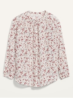 Oversized Floral-Print Button-Front Blouse for Women
