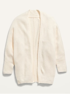 Dolman-Sleeve Open-Front Cocoon Sweater for Girls