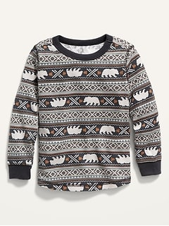 Fair Isle Thermal Tee for Toddler Boys