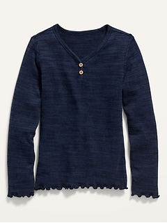Plush-Knit Lettuce-Edged Henley for Girls