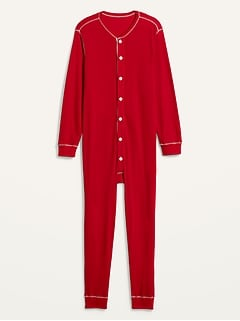 Soft-Washed Waffle-Knit One-Piece Pajamas for Men