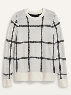 Cozy Plaid Crew-Neck Sweater for Women