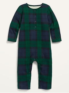 Unisex Plaid Thermal Henley One-Piece for Baby