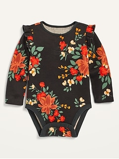 Unisex Printed Ruffle-Trim Thermal Bodysuit for Baby