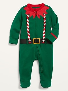 Unisex Holiday-Graphic Footed One-Piece for Baby