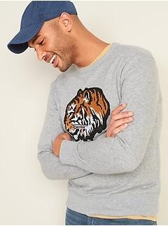 Chandail en coton ouaté ras du cou à motif de tigre brodé pour homme