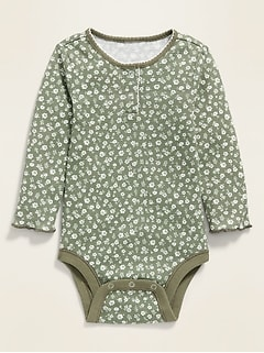 Floral Thermal Henley Bodysuit for Baby