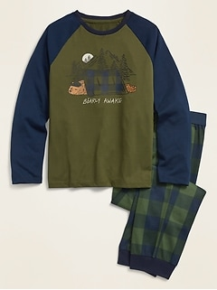 Graphic Raglan Shirt and Jogger Pants Pajama Set for Boys