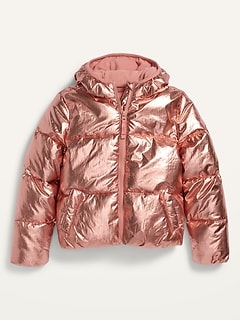 Metallic Frost-Free Puffer Jacket for Girls