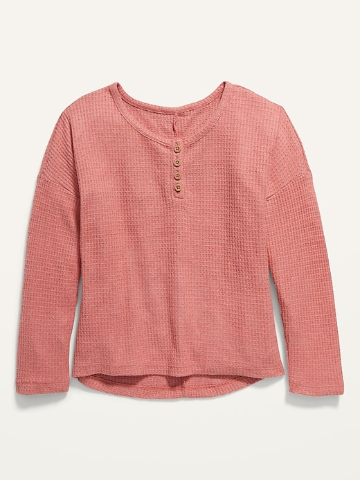 Oversized Thermal Henley for Girls