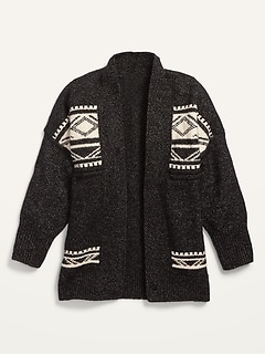 Open-Front Fair Isle Cocoon Sweater for Girls