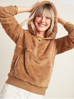 Plush Sherpa Faux-Fur 1/2-Zip Hoodie for Women