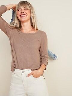 Plush Rib-Knit Long-Sleeve Tee for Women