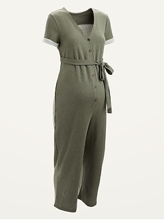 Maternity Tie-Belt Button-Front French Terry Jumpsuit