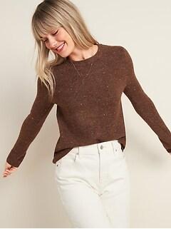 Cozy Textured Crew-Neck Sweater for Women