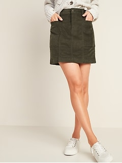 High-Waisted Corduroy Utility Pencil Skirt for Women