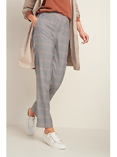 Mid-Rise Straight Plaid Pull-On Pants for Women