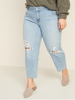 Mid-Rise Boyfriend Straight Plus-Size Ripped Jeans