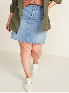 High-Waisted Secret-Slim Pockets Frayed-Hem Plus-Size Jean Skirt
