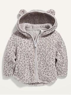 Leopard-Print Sherpa Zip Hoodie for Baby