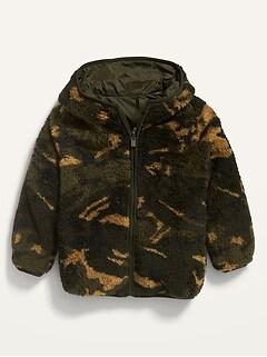 Unisex Reversible Sherpa-Nylon Hooded Zip Jacket for Toddler