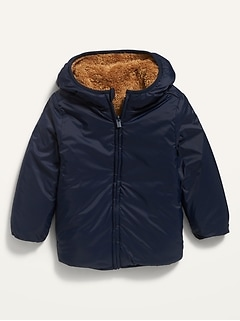 Reversible Sherpa-Nylon Hooded Zip Jacket for Toddler Boys