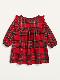 Plaid Ruffle-Trim Dress for Baby