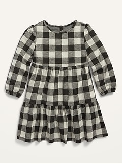 Plaid Tiered Swing Dress for Toddler Girls
