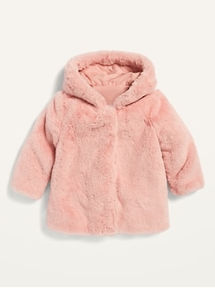 Unisex Faux-Fur A-Line Hooded Coat for Baby
