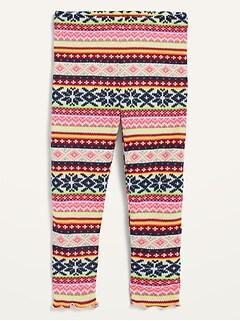 Cozy Plush-Knit Fair Isle Leggings for Toddler Girls