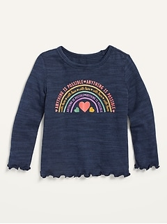 Graphic Cozy Plush-Knit Long-Sleeve Top for Toddler Girls