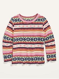 Long-Sleeve Plush-Knit Fair Isle Top for Toddler Girls