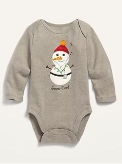 Cache-couche à imprimé de bonhomme de neige à manches longues pour bébé