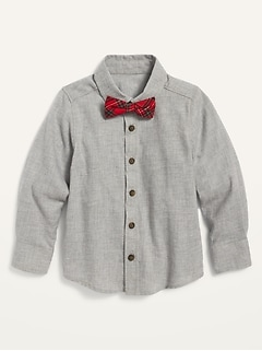 Button-Front Twill Shirt and Tie Set for Toddler Boys