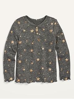 Henley douillet en tricot moelleux à imprimé d'étoiles pour toute-petite fille