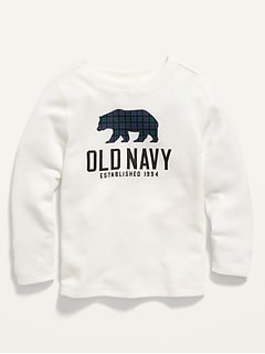 Logo-Graphic Long-Sleeve Thermal Tee for Toddler Boys