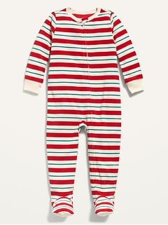 Striped Micro Fleece Footie Pajama One-Piece for Toddler & Baby