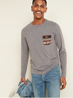 Soft-Washed Patterned-Pocket Long-Sleeve Tee for Men