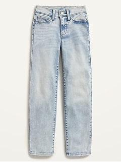 High-Waisted O.G. Straight Built-In Tough Light-Wash Jeans for Girls