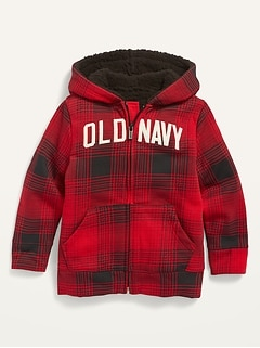 Unisex Logo-Graphic Plaid Sherpa-Lined Zip Hoodie for Toddler