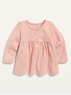 Haut douillet en tricot moelleux à ourlet à basque pour bébé