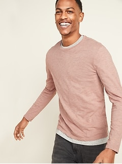 Soft-Washed Slub-Knit Long-Sleeve Tee for Men
