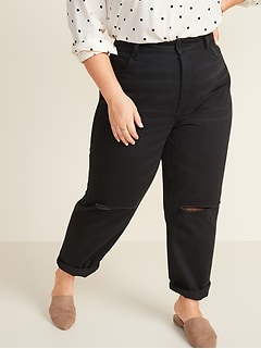 Extra High-Waisted Sky Hi Straight Ripped Plus-Size Black Non-Stretch Jeans