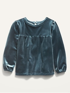 Long-Sleeve Shirred Velvet Top for Toddler Girls