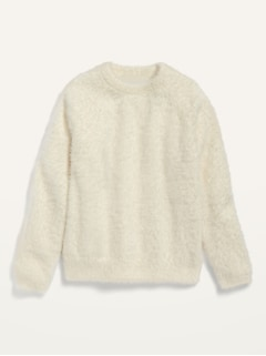 Crew-Neck Eyelash Sweater for Girls