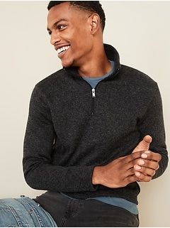 Sweater-Fleece 1/4-Zip Mock-Neck Sweatshirt for Men