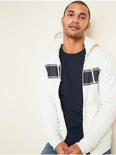 Chest-Stripe Zip Hoodie for Men