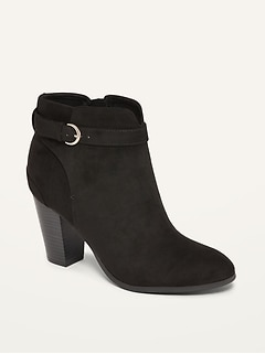 Faux-Suede Buckled-Strap High-Heel Booties for Women